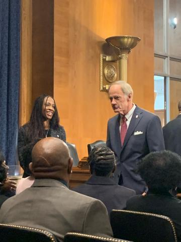 Aurelia Skipwith and Senator Tom Carper