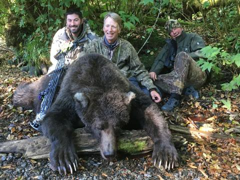 Doug with guides and bear